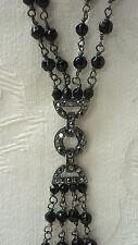 M&S Negro Estilo Art Deco grano & Marcasita y Cadena Collar de imitación doble cuentagotas