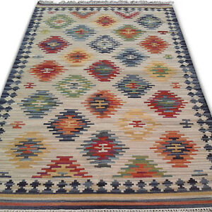 Afghan Faded Blue Kilim Hand Woven Wool Garden Area Rug 5'x8' Kelim Carpet