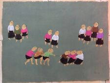Children   OOP  Orig rice paper painting  female Ta Thanh Tam b1961 grad VUFA