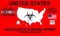 x2 Sasquatch Hunting Permit Funny Window Bumper Decal Sticker Yeti Bigfoot 1