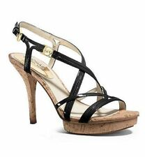 Women MICHAEL Michael Kors Cicely Sandals, Black Patent Size 9 NIB Open Toe
