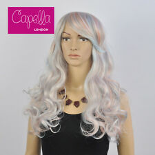 Celebrity Layered  Long Pastel Blue Pink Wig Hair Like Kylie Jenner Coachella