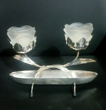 VINTAGE CANDLE HOLDERS FROSTED GLASS TULIP FLOWER TEA LIGHT METAL BASE