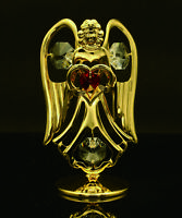 SWAROVSKI CRYSTAL ELEMENT JULY BIRTHSTONE RUBY ANGEL 24K GOLD PLATED