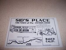1949 SID'S PLACE CHEVRON GAS STATION & CAFE BAKER CA. POSTCARD by DUDE LARSEN