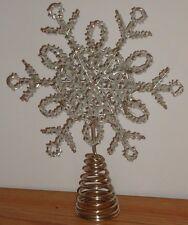 "METAL SNOWFLAKE Christmas Tree Topper silver tone w/white beads w/box 9""H"