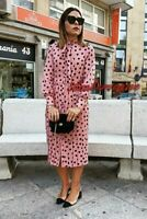 Zara New F/W 2020 Pleated Polka Dot Midi Dress Size M 10 12