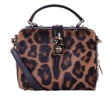 DOLCE & GABBANA Fur Bag ROSARIA Large w. Studs Mirror Leopard Print Black 05768
