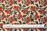 1/2 yd 100% cotton fabric Rust Rose Stems floral flowers plants quilting sewing