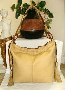 LUCKY BRAND XL Vintage Inspired Creamy Tan Leather Tassel  Hobo Shoulder Bag!