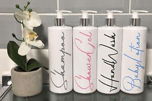 Mrs Hinch Inspired 500ml White Pump Bottles Set Bathroom Kitchen Shower Vinyl