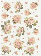 Rice Paper for Decoupage, Scrapbooking Sheet Craft Texture with Roses