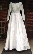 Vintage Wedding Dress Ivory Taffeta Modest A Line Long Sleeve Pearls Size 6