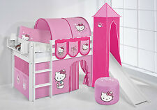 Juego de cama alta JELLE 190x90 blanco torre+Tobogán lilokids HELLO KITTY ROSA