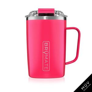 BRUMATE TODDY Mug 16 oz Leak proof Locking Lid hot or cool - NEON PINK
