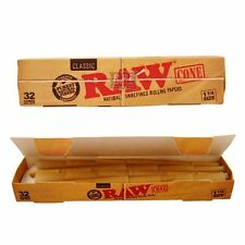 RAW Prerolled Cones 32 Count 1 1/4 Natural Classic Unrefined Rolling Papers