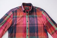 Gitman Bros Vintage Mens Madras Plaid Cotton Shirt Size S Small