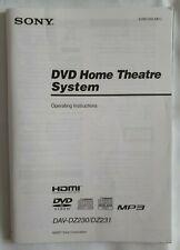 Sony DVD Home Theatre System Operating Instructions Manual DAV DZ230 DZ231 2007