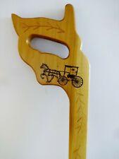 """Vintage Saw Shaped Handle Wood Cane Horse & Buggy Walking Stick Maybe Amish 37"""""""