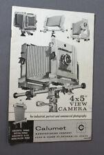 Calumet 4X5 View Camera Instructions, 1964