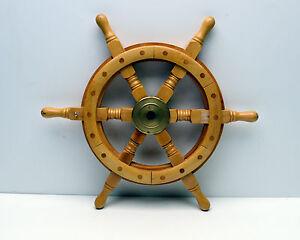 Ships Wheel Nautical Maritime Decorator piece Captain Pirate Wood & Brass