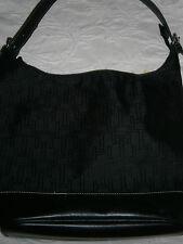 Tommy Hilfiger Black Fabric Cloth Handbag Purse Shoulder Tote Zipper Top Large