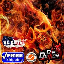 Lm Red Flaming Skulls Hydrographic Water Transfer Film Hydro Dipping Dip Demon