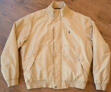 Vintage Polo Ralph Lauren Mens Medium Tan Fleece Lined Bomber Jacket Rare