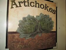 """Artichokes"" Framed Plaque, Kitchen or Dining Room Decor, 12"" x 12"" New"