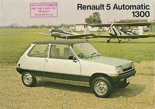 Renault 5 Automatic 1300 3-dr 1978-79 UK Market Leaflet Sales Brochure