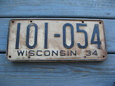 1934 34 WISCONSIN WI LICENSE PLATE NICE TAG - ORIGINAL CONDITION