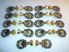"9 Pair 1 3/8"" Kirsch Decorative Wood Pole Antique Solid Brass Screw-in Finials"