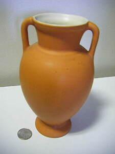 coors pottery golden colorado matte orange vase 2Handle