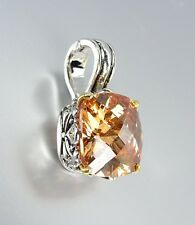 Designer Style Silver Gold Balinese Filigree Brown Topaz CZ Crystal Pendant