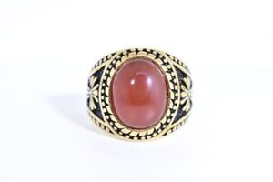 Gold Plated Stainless Steel Genuine Carnelian Size 10 Men's Cross Ring