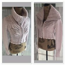 Oui Moments Pale Pink Chunky Knit Wool Blend Short Zip up Cardigan Uk10 NWOT