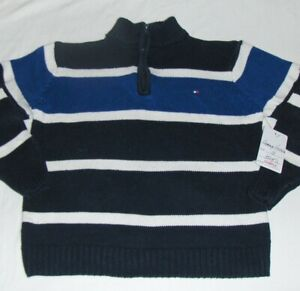 New TOMMY HILFIGER NAVY STRIPED SWEATER 5 boys QUARTER ZIP PULLOVER T-SHIRT 1/4