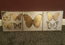 ARTHOUSE Hanging BUTTERFLY CANVAS Wall Art Black & Gold. 3 piece set. NEW
