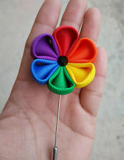 LGBT Marks Gay Pride Rainbow Brooch Pin Gay Wedding Ribbon Flower Brooch Fashion