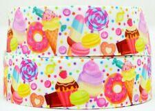 "Grosgrain Ribbon 7/8"" 1.5"" Candy Land Lollipop Donuts Cupcake Ice Cream Printed."