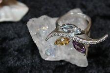 Silberring Edelsteinring Silber 925 Blau Topas Citrin Amethyst Große-60(19,1 mm)
