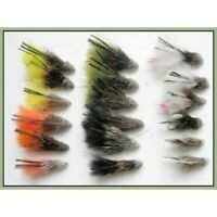 Muddler Minnow Trout flies, 18 Pack, 6 Colours Mixed Size 8/10/12, Fishing flies