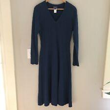 Pendleton Merino Wool V Neck Sweater Dress Blue Sz M