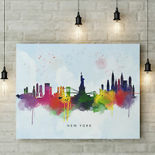New York Skyline, Multi-Color Water Colour Print on Blue Wash Canvas Art Print