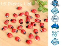 30pcs Miniature Wooden Red Ladybird Ladybug Beetle Fairy Garden Terrarium Bonsai