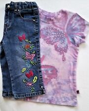 Gypsy Doll Girls Pink Tie Dye Shirt & Arizona Jeans Butterfly Design Size 6 & 5
