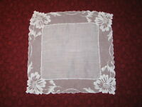 Stunning VTG Antique French Needle Run Net Lace Handkerchief Hanky~Bridal~White