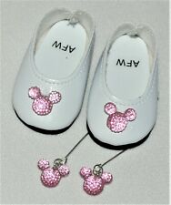 Shoes White Dressy w/ Mickey Mouse For 14in Wellie Wishers American Girl Doll