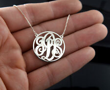 """1"""" Monogram necklace 3 Initials Necklace Sterling Silver .925 100% Hand Made"""