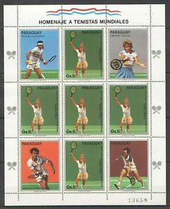 EC123 1986 PARAGUAY SPORT TENNIS WORLD CUP MICHEL 20 EURO 1KB MNH